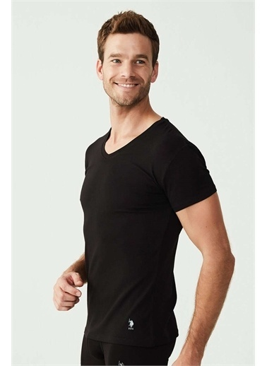 U.S. Polo Assn. U.S. Polo Assn. Erkek Beyaz Süprem V Yaka T-Shirt Siyah